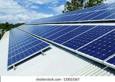 Large solar panel installation on roof