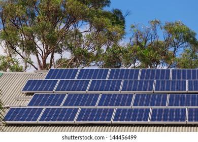 Large solar panel installation on roof