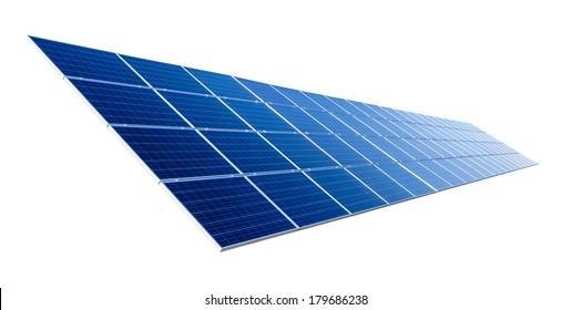 Large solar panel isolated on pure white background