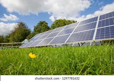 Large solar panels providing alternative energy supply outdoors