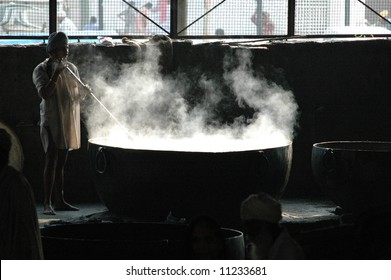 Large soup pot with rising steam
