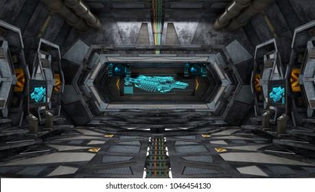 Large Spaceship Interior. 3D Illustration.