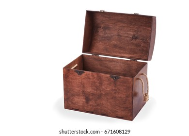 A large, spacious brown wooden box with lots of blue, red, green, yellow, pink, orange wooden eco-cubes. The chest of isolated on a white background: closed, empty, chest with wooden cubes.