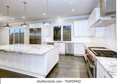 Large, Spacious Kitchen Design With White Kitchen Cabinets, White Kitchen  Island With Lots Of