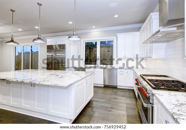 Large Spacious Kitchen Design White Kitchen Stock Photo Edit Now 756929452