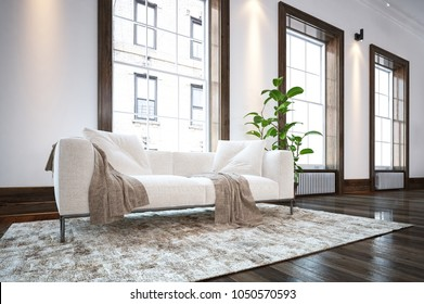 Large spacious luxury minimalist living room interior with a comfortable white sofa on a rug on a wooden floor in front of large bright windows facing apartment blocks. 3d rendering
