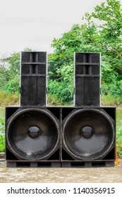 Large speakers outdoors in summe time on