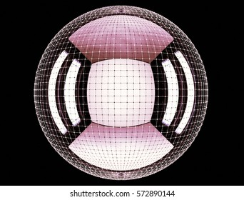 large sphere inside a circular mesh or network of connected points. 3d rendering background, illustration for print or web.