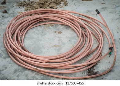 large spools of electric cable.Copper cable metal.Copper wire for grounding system.copper wire for grounding