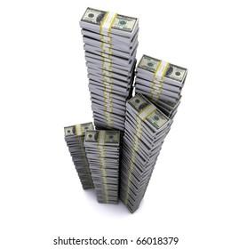 A large stack of hundred-dollar bundles on a white background