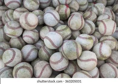 Large Stack of many baseballs. Great Baseball background
