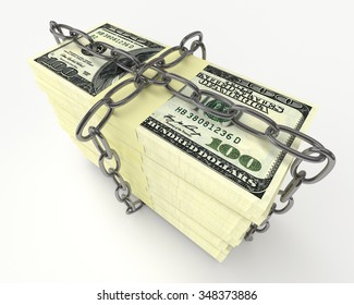Large stack of money wrapped chain isolated on white
