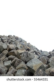 large stack mountain of cobble stone