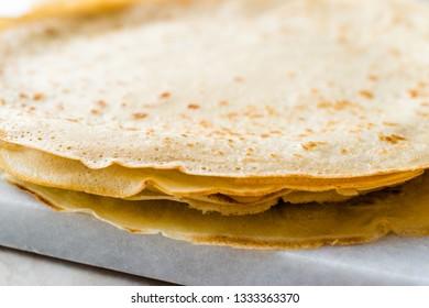 Large Stack of Plain Thin Pancake Crepes