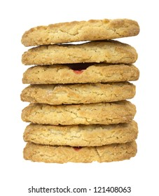 A large stack of soft cookies on a white background.