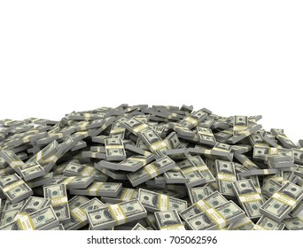 Large stack of US Dollars isolated on white background. 3D render