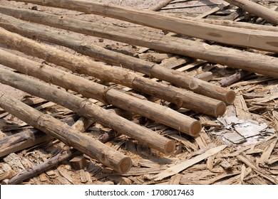 Large stack of wood planks, teak wood