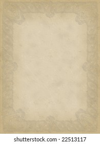 Large stained old paper with ornament frame.