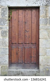 Large and stately wooden doors by Arosa estuary in Spain