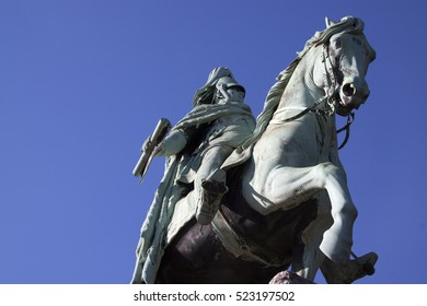 Large statue of former German emperor on a horse