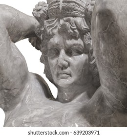 Large statue of stone marble male atlant holding sky