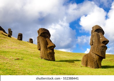Large statues known as Moai on Easter Island in Chile
