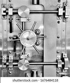 Large Steel Bank Vault Door.