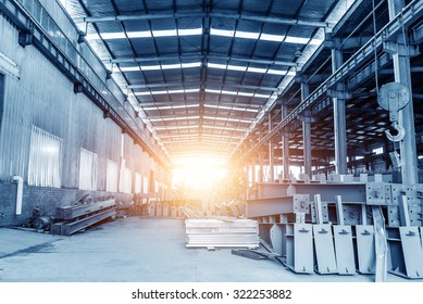 Large steel plants, clean shop and neatly stacked steel.
