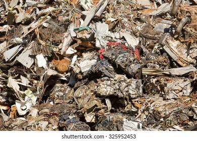 Large stockpile of scrap metal awaiting recycling