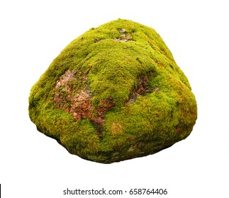 Large stone covered with green moss isolated on white background.