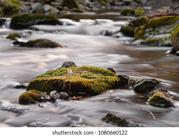 Large stone with moss and other plants in the flowing water, water movement in long exposure - Location: Germany, Saxony