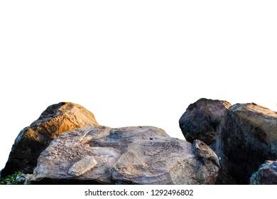 Large stone, rock isolate on white background