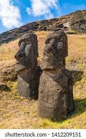 The large stone statue Moai at Rano Raraku on Easter Island or Rapa Nui in Chile