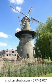 Large stone windmill incorporating a miller's home in Schiedam, Holland