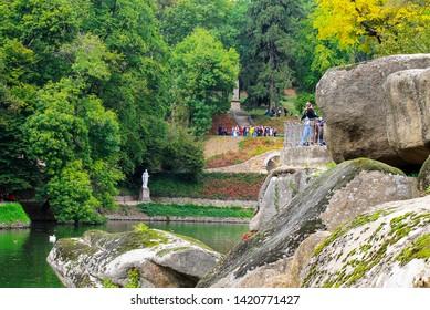 Large stones in a beautiful landscape park in early autumn, Sophia Park in Uman, Ukraine