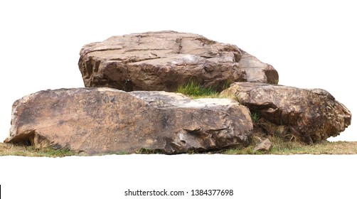 The large stones are on the grass isolated on white background.clipping path.