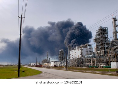A large storage tank fire at Intercontinental Terminals Company in Deer Park near Houston, Texas. The tanks on fire hold Naphtha and xylene