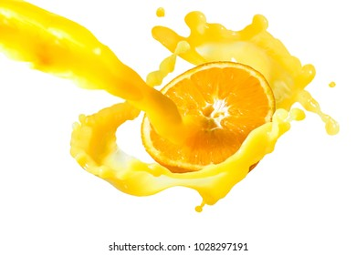 a large stream of juice is poured on a ripe fruit of a cut orange with a spray
