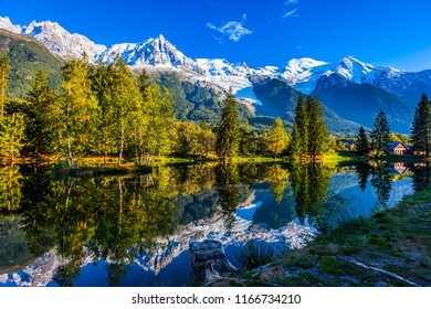 Large stump on the shore of the lake. Snowy Alps are reflected in the lake. Magically beautiful park in the mountain resort of Chamonix. Concept of active and ecotourism