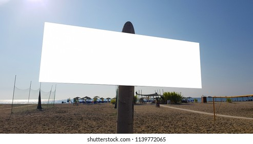 Large Summer Billboard Banner Poster Mock Up  Sign On The Sandy Beach.Empty White Isolated Template Clipping Path