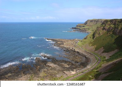 Large summer view of the coastline where is located the Giant's Causeway, in Northern Ireland