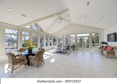 Large Sun Room with Tile Floors