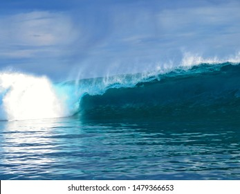 large surfing wave in tahiti during big swell