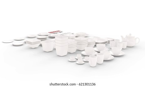 Large Tableware Collection Large Tableware Collection isolated on a White Studio Background  3D Rendering