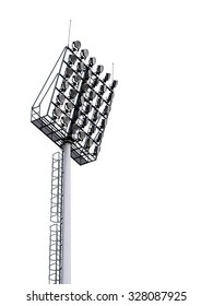 large tall high outdoor stadium spotlights on rigid frame construction under natural sunlight, die-cut isolated on white background
