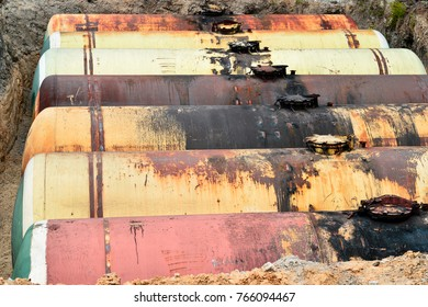 Large tank for gasoline in the excavated quarry for storage of petroleum products.