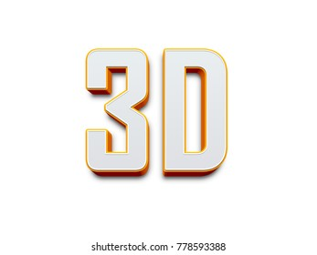Large three-dimensional logo on a white isolated matte background. Matte gold. 3d logo.