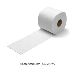 Large Toilet Paper on The Run Isolated on White Background.
