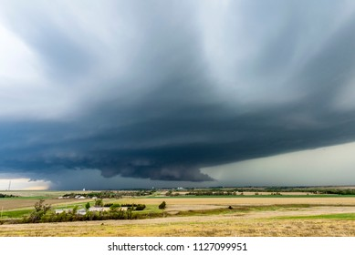 A large tornadic mesocyclone supercell inflow sucks in energy as it begins to transform into a tornado.