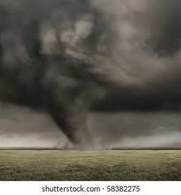 A large tornado working its way across fields.
